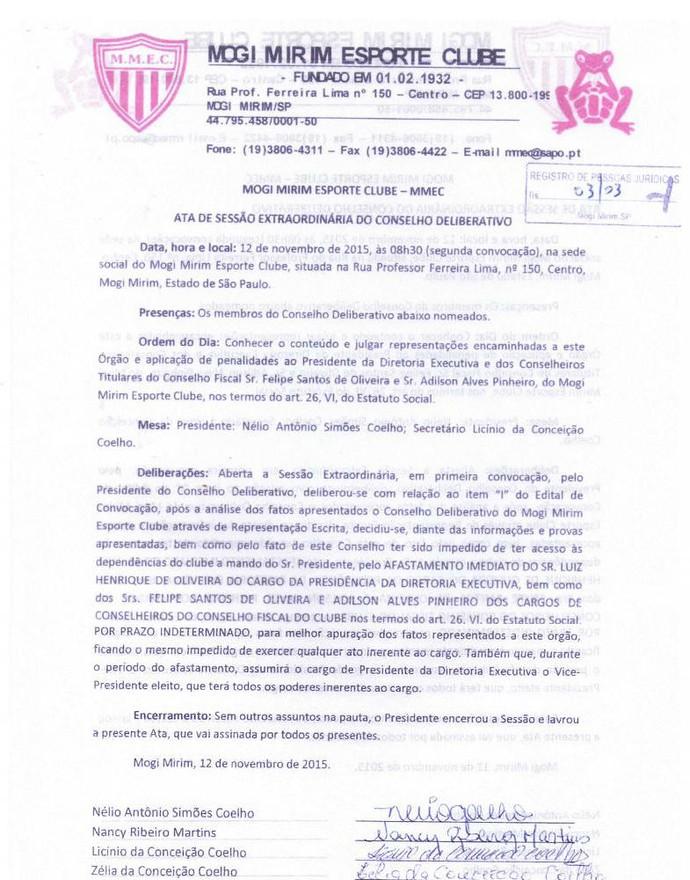 Ata Conselho Deliberativo Mogi Mirim Sapo (Foto: Divulgação / Mogi Mirim EC)