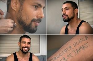 Cauã Reymond exibe 'tattoos' de André. Assista ao vídeo! (TV Globo / Divulgação)