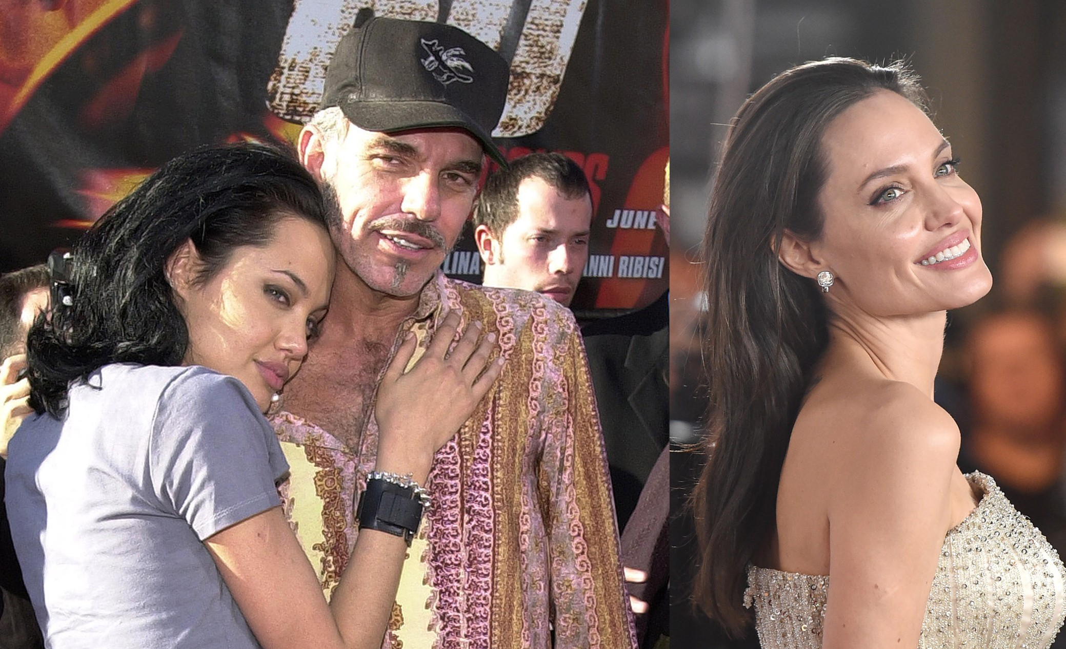 Angelina Jolie e Billy Bob Thornton em 2000. E Angelina Jolie em 2015 (Foto: Getty Images)