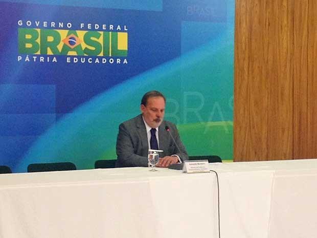 Armando Monteiro concede entrevista coletiva no Palácio do Planalto (Foto: Fiipe Matoso / G1)