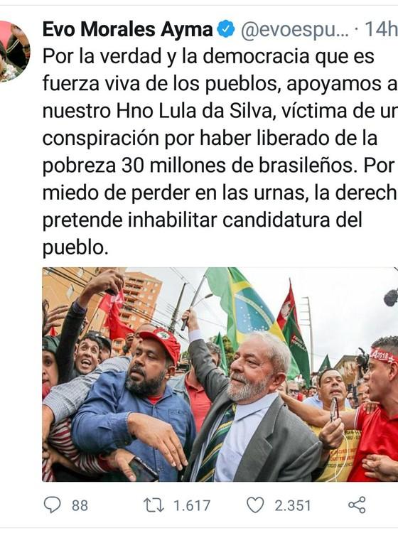 Presidente da Bolívia, Evo Morales, afirma que Lula é vítima de conspiração (Foto: Reprodução)