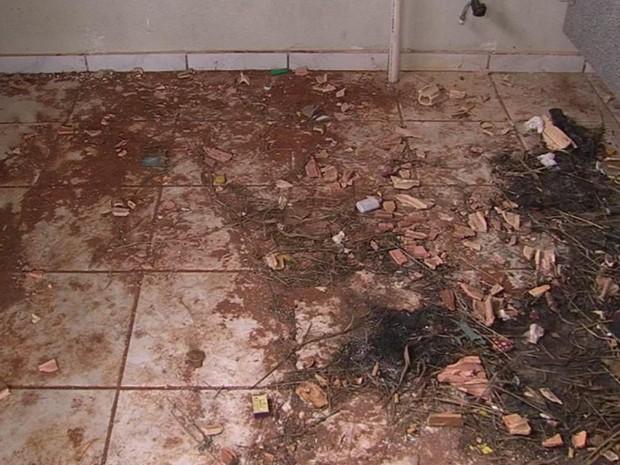 Mulher deu à luz dentro do banheiro cheio de sujeira (Foto: Reprodução/ TV TEM)