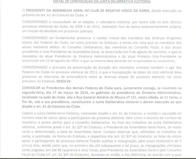 Convocação junta deliberativa Vasco reunião 17 de março (Foto: Reprodução)