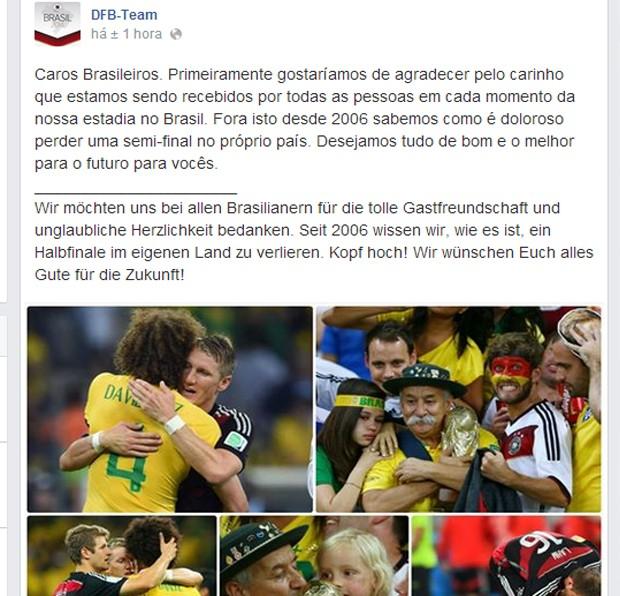 No Facebook, a DFB agradeceu a hospitalidade brasileira (Foto: Reprodução / Facebook)