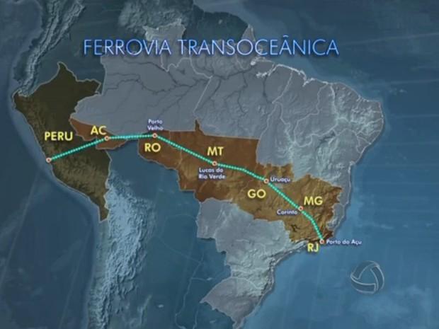 Ferrovia Transoceânica passará por vários estados brasileiros até chegar ao Oceano Pacífico pelo Peru. (Foto: Reprodução/TVCA)