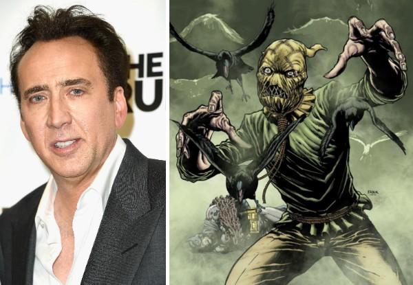 O ator Nicolas Cage e o vilão Espantalho do Batman (Foto: Getty Images/Reprodução)