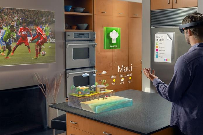 Hologramas da Microsoft devem fazer com que usuário possa ter acesso a informações sem que estas estejam presas a telas (Foto: Divulgação/Microsoft)