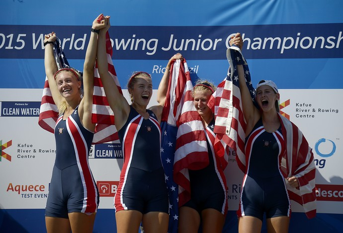Time EUA evento-teste de remo lagoa rodrigo de freitas Rio 2016 (Foto: AP)