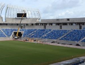Placar eletrônico da Arena das Dunas, em Natal (Foto: Jocaff Souza)