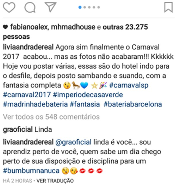 Lívia Andrade e Gracyanne Barbosa trocam elogios em rede social (Foto: Reprodução/Instagram)