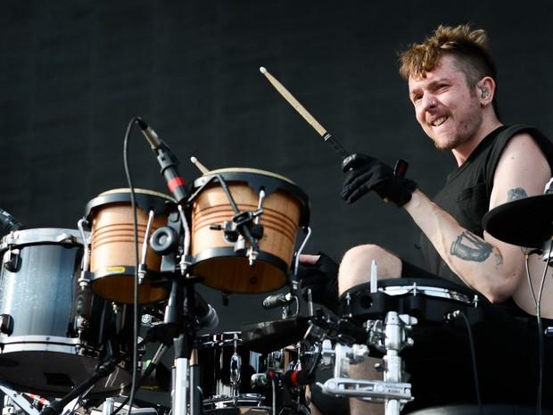 Baterista Thom Green da banda Alt-J , durante apresentação no palco principal do Lollapalooza (Foto: Flavio Moraes/G1)