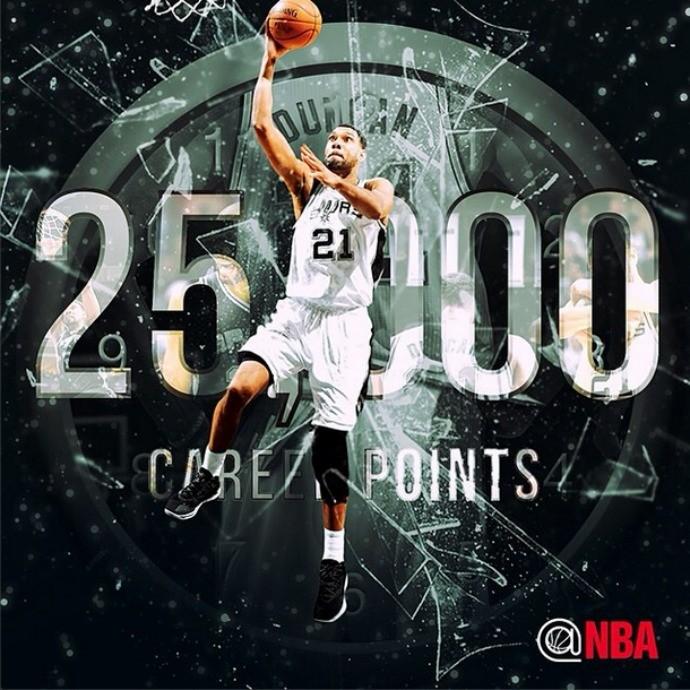 Tim Duncan completa 25000 pontos na NBA (Foto: Reprodução/Instagram)