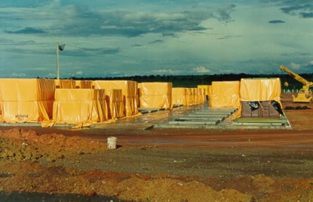 Depósito provisório do césio-137, em Abadia de Goiás (Foto: Reprodução)
