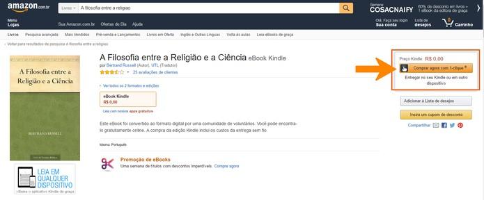 Selecione o botão para fazer a compra do e-book na Amazon (Foto: Reprodução/Barbara Mannara)