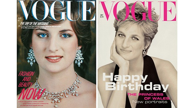 Diana's Vogue covers, from August 1981 (left), photographed by Lord Snowdon, and October 1994, photographed by Patrick Demarchelier (Foto: VOGUE)
