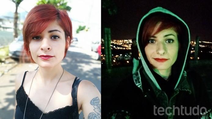 Selfies tiradas com o Zenfone 4 Selfie Pro: Modo Retrato (esq.) e em ambientes escuros (dir.) (Foto: Ana Marques/TechTudo)