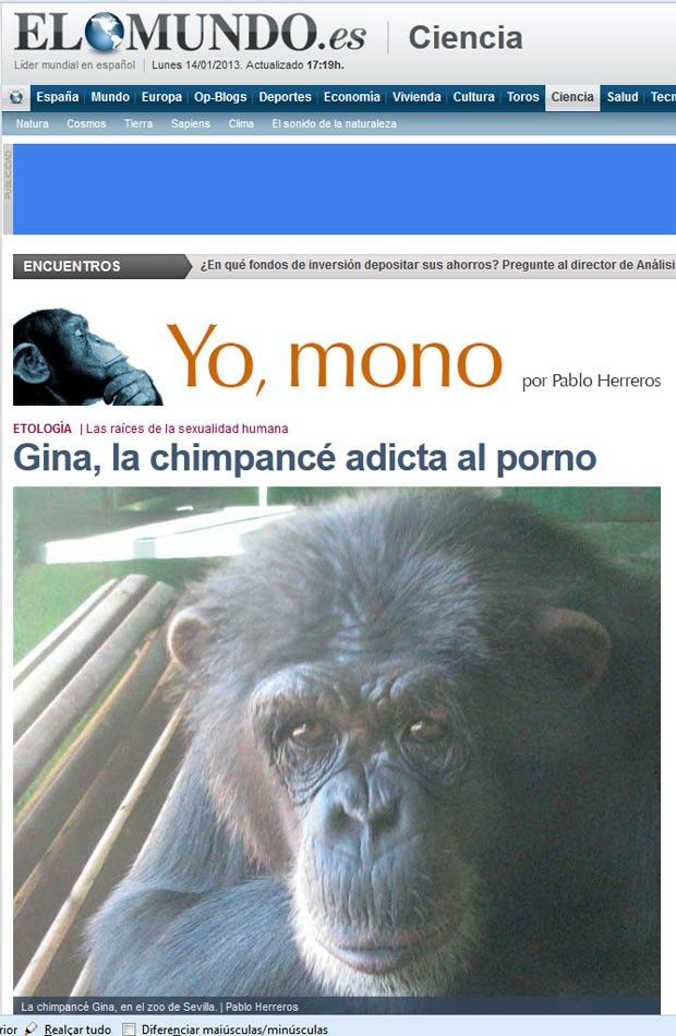 'Gina' ficou viciada em ver pornografia humana após uma experiência realizada no zoológico de Sevilha (Foto: Reprodução)