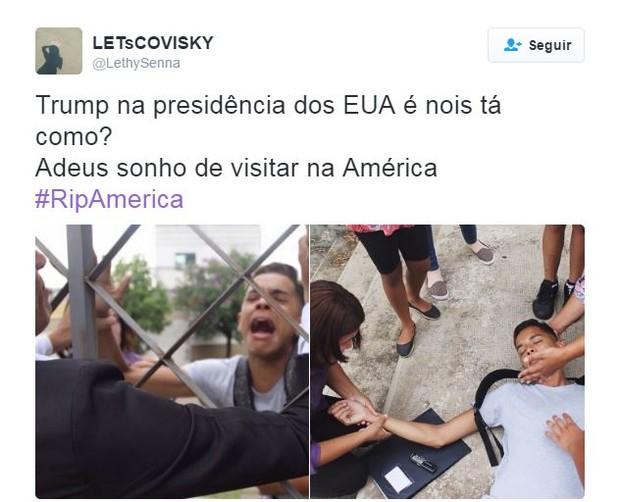 Memes sobre a vitória de Trump nos EUA (Foto: Twitter / Reprodução)