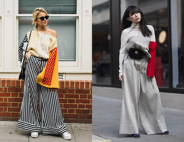 As calças largas, pantalonas ou de alfaiataria, são uma boa opção (Foto: Imaxtree)