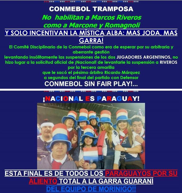 Print Nacionalquerido.com site Libertadores Nacional (Foto: Reprodução)