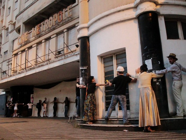 protesto arquitetura patrimônio histórico Uberaba Cine Metrópole (Foto: Feridas Urbanas/ Divulgação)