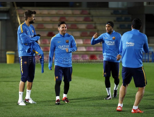 Treino do Barcelona, Messi, Neymar e Piqué