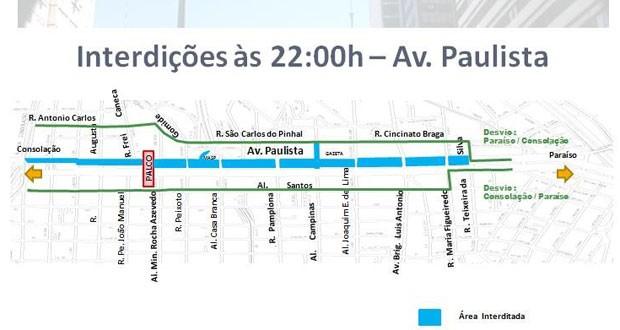 Interdição afetará ambos os sentidos da Av. Paulista a partir das 22h desta quarta-feira (30). (Foto: Divulgação: CET)