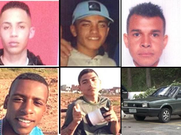 Jonathan, Caíque, Jones, César, Robson e carro abandonado em São Paulo (Foto: Reprodução/Polícia Civil)