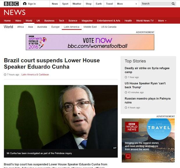O site da BBC News fala sobre a suspensão de Eduardo Cunha (Foto: Reprodução/BBC News)