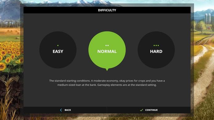 O modo carreira de Farming Simulator 17 tem três níveis de dificuldade (Foto: Reprodução/Tais Carvalho)
