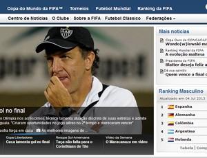 Cuca é destaque no site da Fifa (Foto: Reprodução / Site Oficial da Fifa)