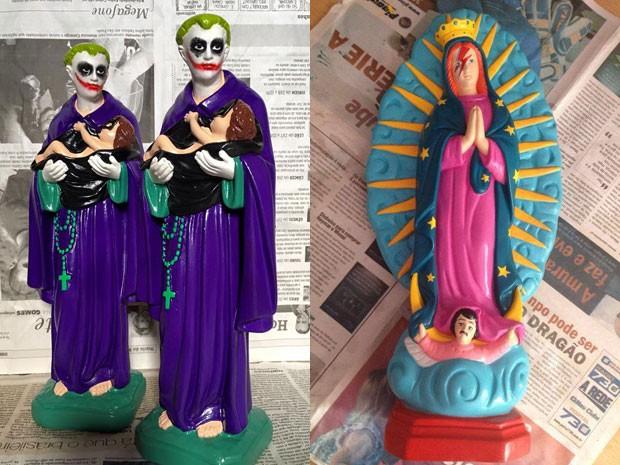 Estatuetas de santo em versão de Coringa e David Bowie; produtos são vendidos em loja do DF (Foto: Ana Smile/Divulgação)
