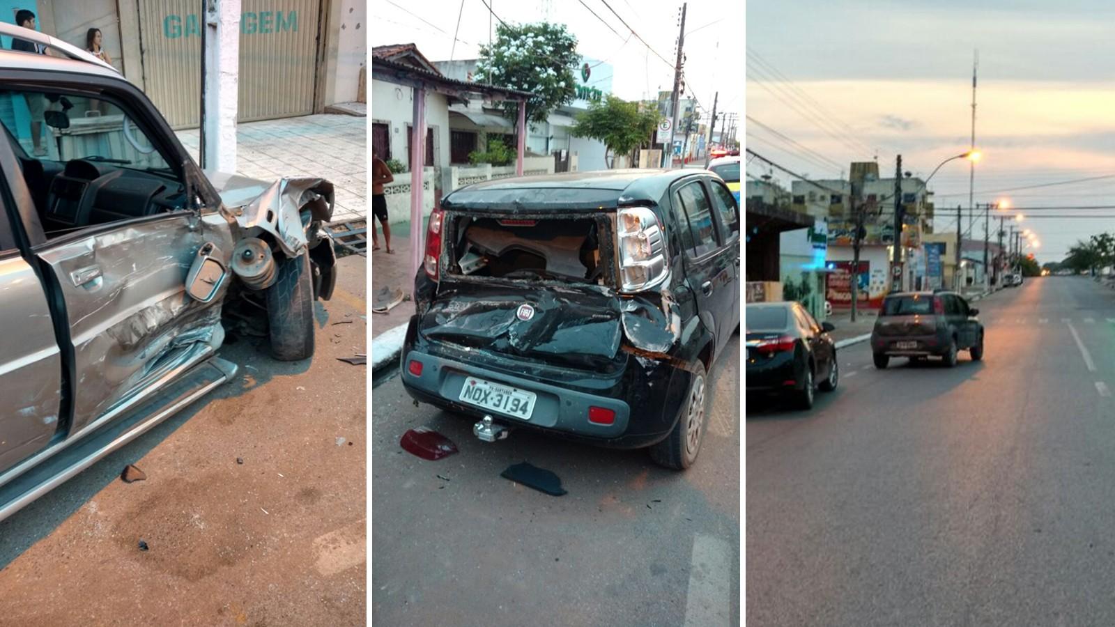 Veículos estavam estacionados na via e ficaram danificados com a batida (Foto: Nelson Gato)