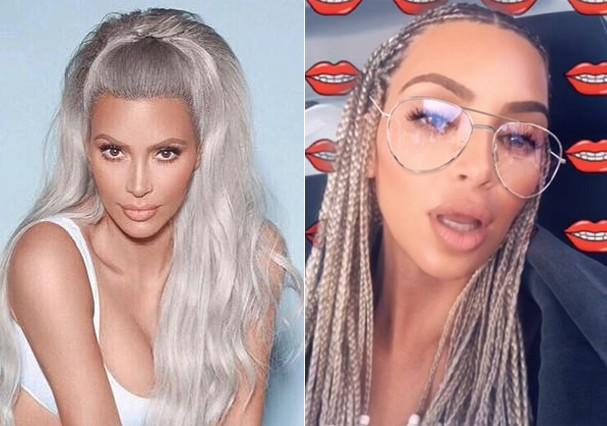 Kim Kardashian aposta em trancinhas (Foto: Reprodução)