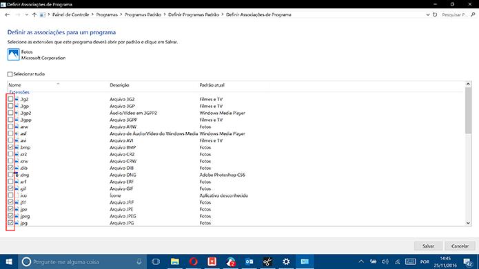 Windows 10 traz lista de extensões que podem ser associadas ao programa (Foto: Reprodução/Elson de Souza)Windows 10 traz lista de extensões que podem ser associadas ao programa (Foto: Reprodução/Elson de Souza)