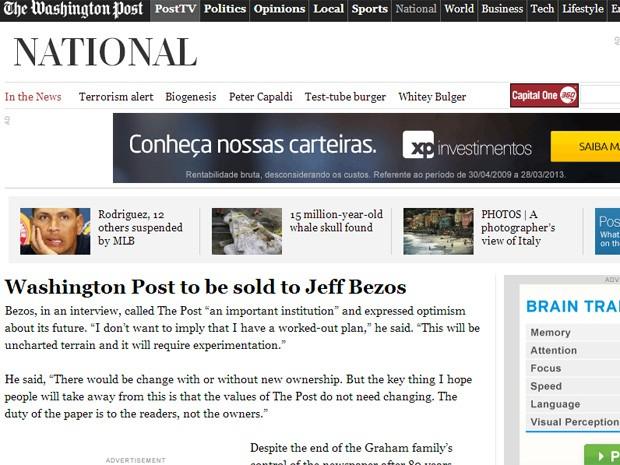 Reportagem do 'Washington Post' confirma venda para Jeff Bezos (Foto: Reprodução/The Washington Post)