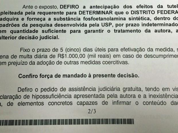 Trecho de decisão do Tribunal de Justiça do Distrito Federal (Foto: Robinson Neves Filho/Arquivo Pessoal)