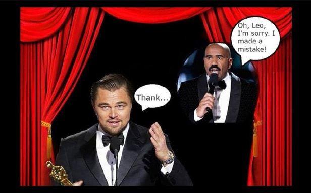 Meme na internet com a vitória do DiCaprio sendo comparada a final do concurso de Miss Universo, que o apresentador anunciou o resultado errado (Foto: Reprodução)