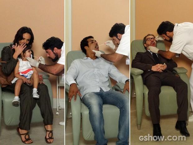 A pequena Bia, Jairo e Nando colhem material para realizar o exame de DNA (Foto: Em Família / TV Globo)
