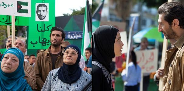 Fauzi (Fares Fares) vê muita gente embarcando nas ideias de Ihab, até mesmo sua filha, Samira (Mor Polanuer)  (Foto: Divulgação/Reprodução)