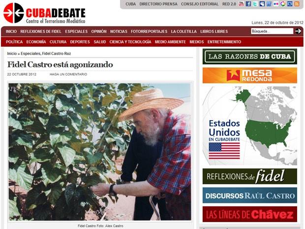 Site oficial de Cuba divulga foto de Fidel Castro aparentando boa saúde (Foto: Reprodução/Cubadebate)