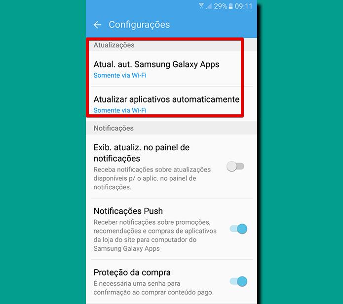 Configurações de atualização dos aplicativos ficam no topo da lista (Foto: Reprodução/Filipe Garrett)