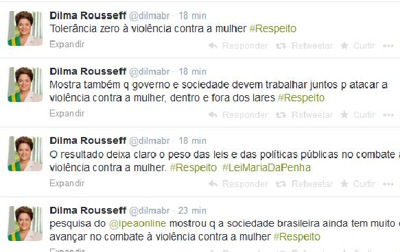 Presidente Dilma Rousseff comenta, no Twitter, pesquisa do Ipea sobre violência contra a mulher (Foto: Reprodução/Twitter)