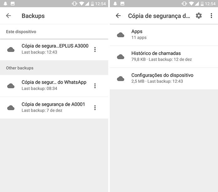 Google Drive pode mostrar cópias de segurança de backup de celulares e apps (Foto: Reprodução/Elson de Souza)