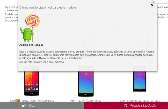 Segundo o site da LG o Prime Plus não tem previsão de atualização (Foto: Reprodução/Barbara Mannara)