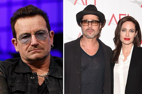 Angelina Jolie e Brad Pitt escolheram Bono, vocalista do U2, para ser padrinho dos gêmeos Knox e Vivienne (Foto: Getty Images)
