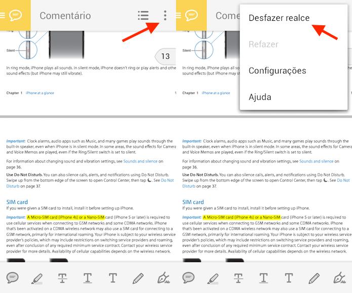 Opção para desfazer um texto marcado no Adobe Reader para Androi (Foto: Reprodução/Marvin Costa)