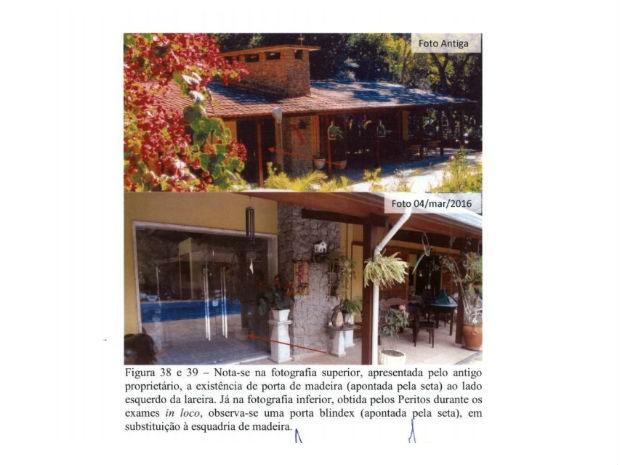 Laudo compara fotos antes e depois de reforma em sítio (Foto: Reprodução)