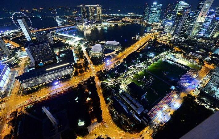 Imagem aérea do circuito de rua de Marina Bay, em Cingapura