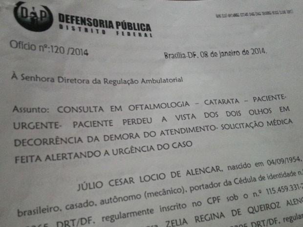 Trecho de documento da Defensoria Pública do DF que fala sobre urgência do caso (Foto: Reprodução)